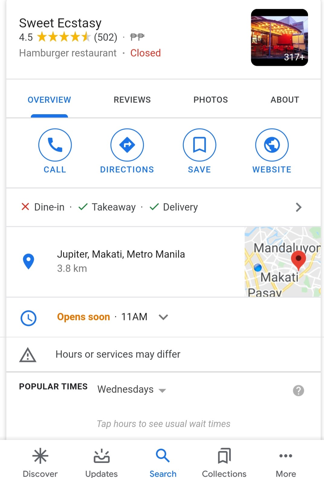 Google My Business offers list of open restaurants for Mother's Day
