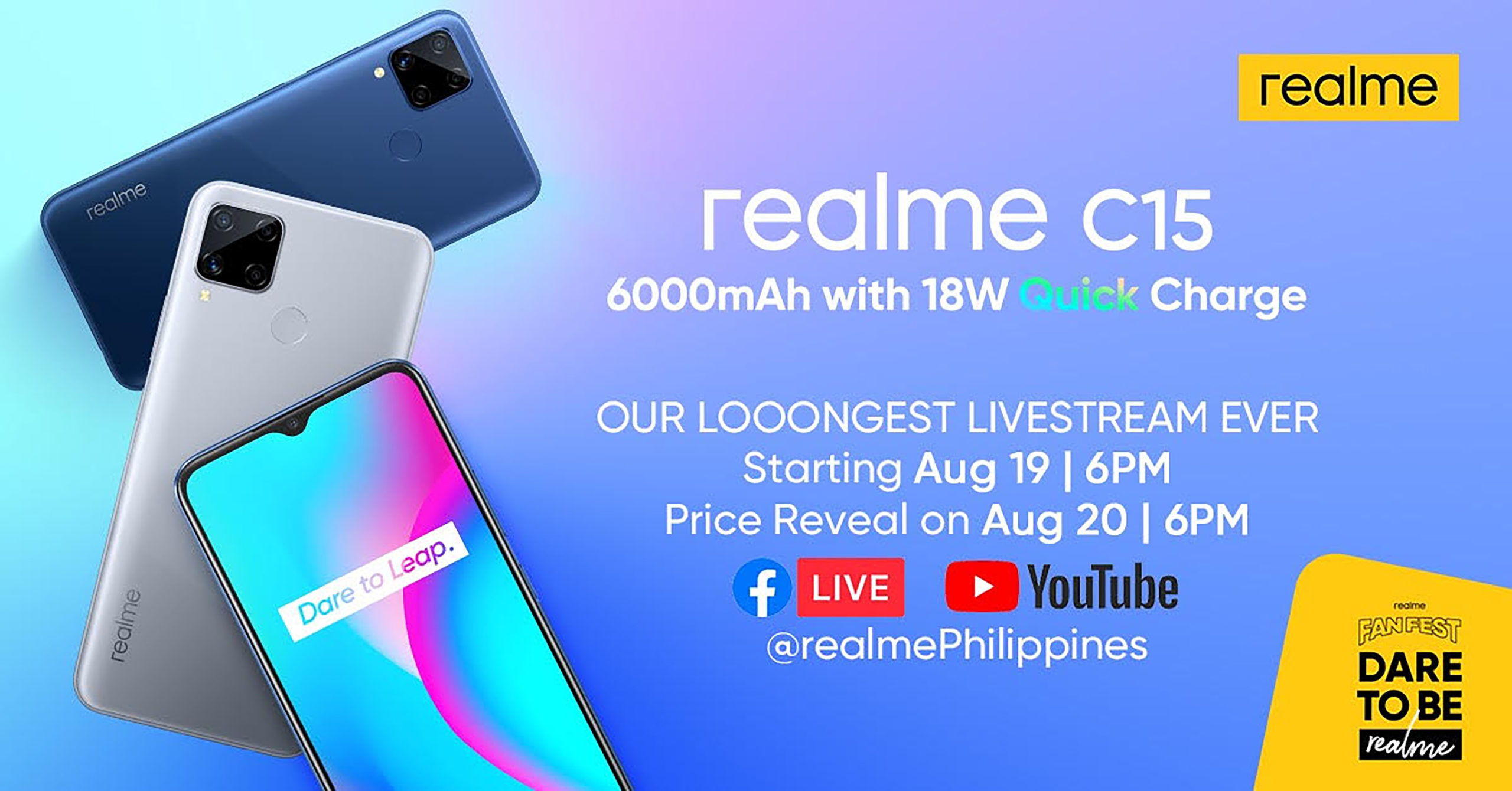 realme Philippines set to launch its 6000mAh, 18W Quick Charge realme C15 on August 20